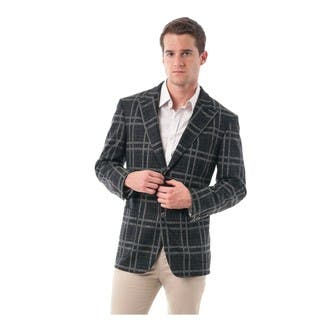 Men's Black and Grey Bold Plaid Wool Blend Peak Lapel Blazer|https://ak1.ostkcdn.com/images/products/12798131/P19568789.jpg?impolicy=medium