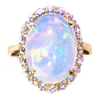 California Girl Jewelry 14k Yellow Gold Opal and 1 1/5ct TDW Diamond Ring