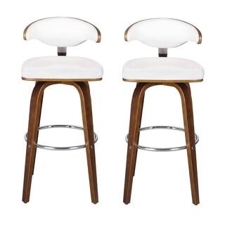 Adeco Bentwood Chrome-base Leather-cushion Contemporary/Modern Armless Barstools (Set of 2)