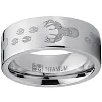Oliveti Men's Laser-etched Titanium 8-millimeter Hunting Deer Track Outdoor Ring/Band