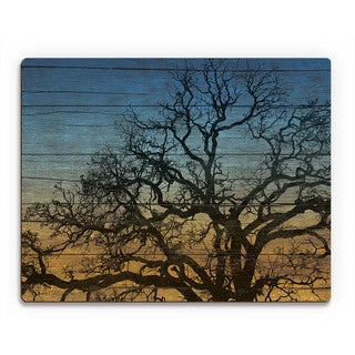 Tree Silhouette' Wood Canvas Wall Art