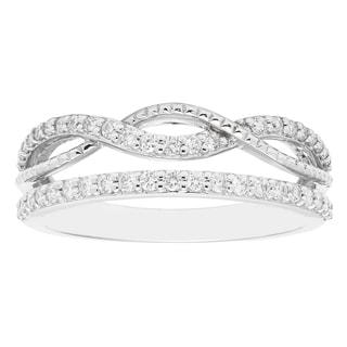 14k White Gold 2/5ct TDW Stacked Infinity Diamond Fashion Band Ring