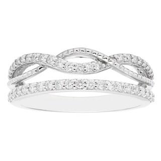 Boston Bay Diamonds 14k White Gold 2/5ct TDW Stacked Infinity Diamond Fashion Band Ring (I, I1)