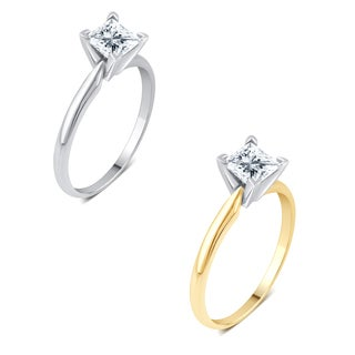 Divina 14k Gold 1ct TDW Princess-cut Solitaire Diamond Engagement