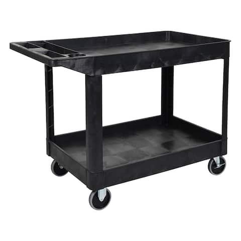 Offex Mobile Office Garage Restaurant 2 Shelf Heavy Duty Utility Cart - Black