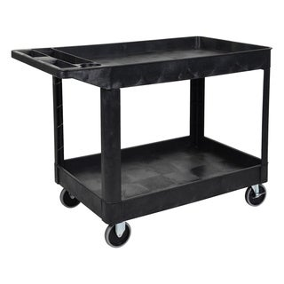 Offex XLC11-B Black Polyethylene Lightweight 2-shelf Heavy-duty Rolling Utility Cart