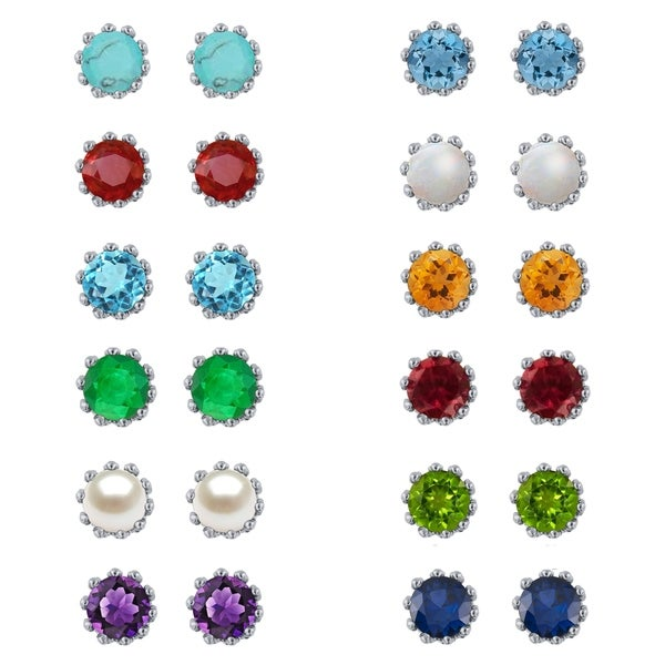 Divina Sterling Silver 2-carat Diamond Gemstone Stud Earrings. Opens flyout.