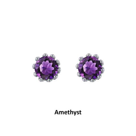 Divina Sterling Silver 2-carat Diamond Gemstone Stud Earrings