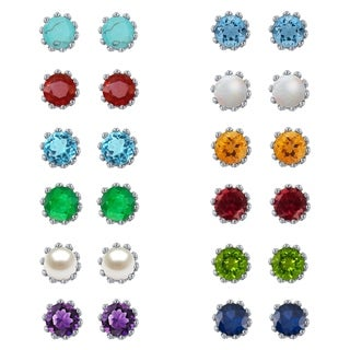 Divina Sterling Silver 2-carat Diamond Gemstone Stud Earrings