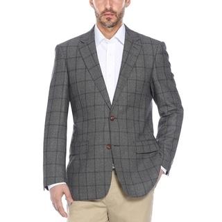Men's Grey/Purple Windowpane Wool Classic-fit Blazer