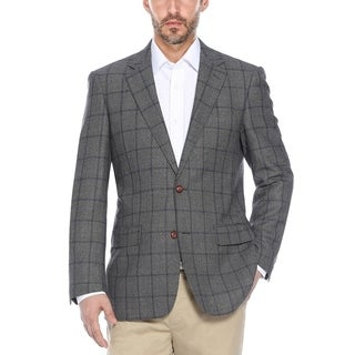 Men's Grey/Purple Windowpane Wool Classic-fit Blazer