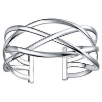 Sterling Silver Intertwined Cuff Bangle