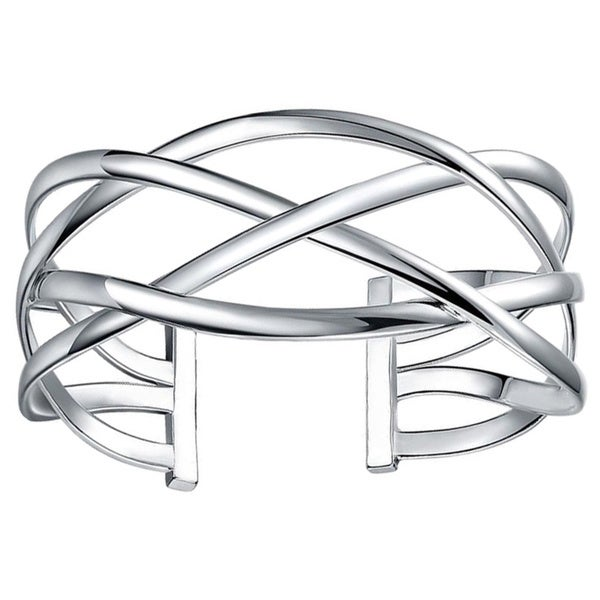 Sterling Silver Intertwined Cuff Bangle. Opens flyout.
