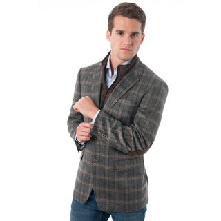 Men's Tan/Black Glen Plaid Wool-blend Blazer with Removable Bib