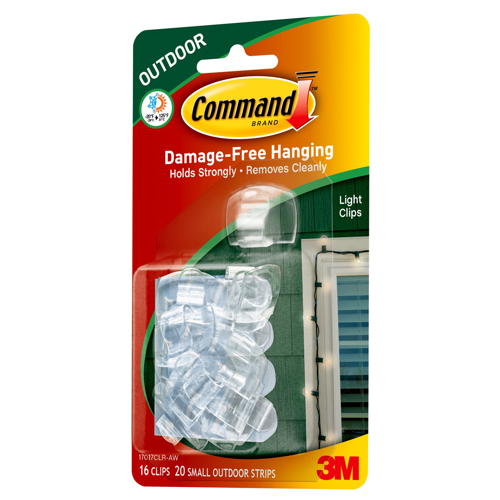 Command Arms Strips 17017CLR-AW Clear Outdoor Light Clips...