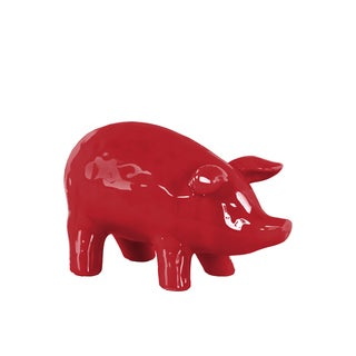 Urban Trends Collection Red Gloss Ceramic Standing Pig Figurine