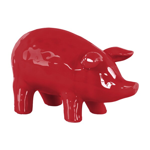Urban Trends Collection Red Ceramic Standing Pig Figurine