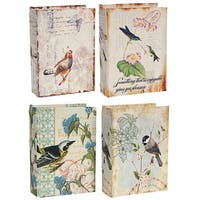 Multicolored Bird-themed Book Boxes (Pack of 4)