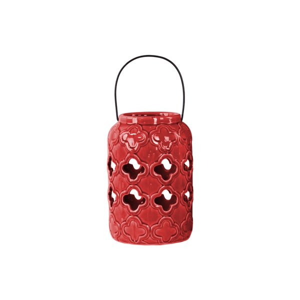 Urban Trends Collection Red Ceramic Gloss Finish Cylindrical Lantern with Cutout Quatrefoil Design and Metal Handle