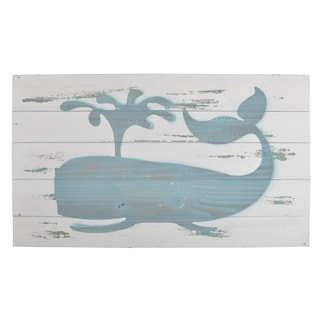 Blue and White Glass and Wood Whale Wall Art