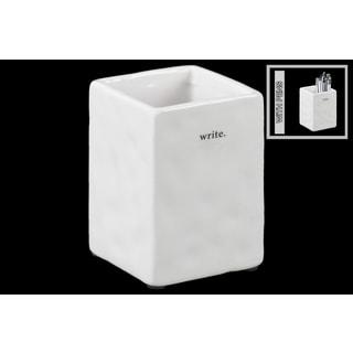 White Ceramic Gloss Finish Square Pen Holder