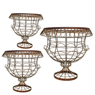 Delma Grey Iron Wire Urns (Set of 3)