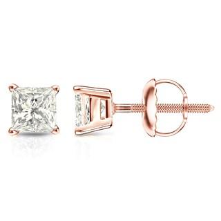 14k Gold Princess-Cut 1/4ct TDW Diamond Stud Earrings by Auriya