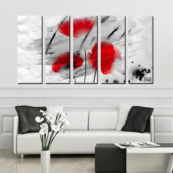 Ready2HangArt U0026#x27;Painted Petals IIIu0026#x27; 5 PC Canvas Art