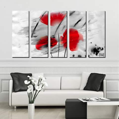 Ready2HangArt 'Painted Petals III' 5-PC Canvas Wall Art Set