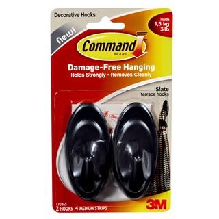 Command Strips 17086S Medium Slate Outdoor Terrace Hooks 2-count