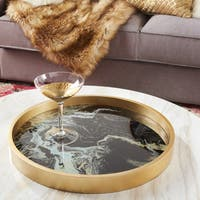 Livonia Multicolored Glass/MDF Round Serving Tray