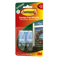 Command Strips 17091CLR-AW Medium Clear Outdoor Window Hooks 2-count