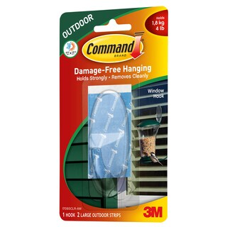Command Strips 17093CLR-AW Large Clear Outdoor Window Hook