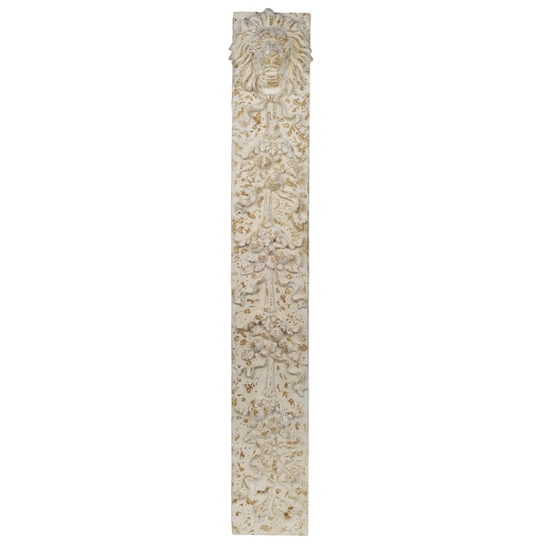Off-white Stone/MDF 12.5-inch x 4.5-inch x 83.5-inch Lion Knocker Sculpture