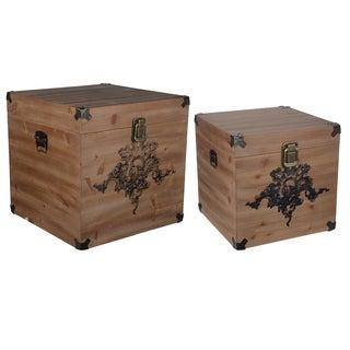 Kinsley Natural-finish Wood/Iron Storage Cubes (Set of 2)