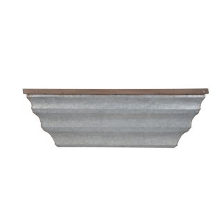 Lilou Grey Metal and Wood 25-inch x 5-inch x 8-inch Wall Shelf