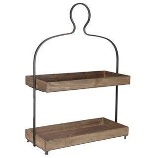 Brown Metal/Wood 21.5-inch x 10-inch x 31-inch 2-tiered Tray on Stand