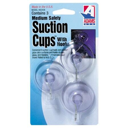 "Adams 6500-74-3040 3-count 1-3/4"" Suction Cup With Metal ""U"" Hook"