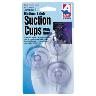"Adams 6500-74-3040 3-count 1-3/4"" Suction Cup With Metal ""U"" Hook"