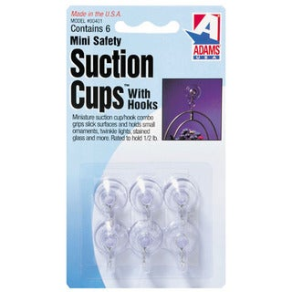 "Adams 7000-75-3040 6-count 3/4"" Clear Suction Cup With Metal ""U"" Hook"