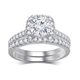 Divina 14k White Gold 2ct TDW Diamond IGL Certified Bridal Set