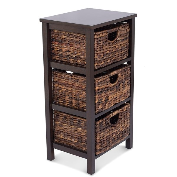 Unique Birrock Home Espresso Solid Wood/Rattan 3-drawer Storage Cubby  AE97
