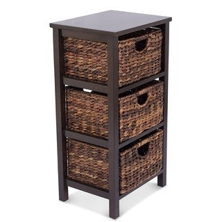Birrock Home Espresso Solid Wood/Rattan 3-drawer Storage Cubby With Stand