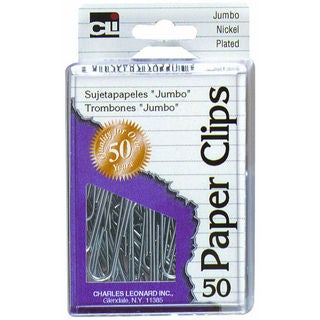 Charles Leonard Inc. 79550 Jumbo Nickel Plated Paper Clips 50 Count