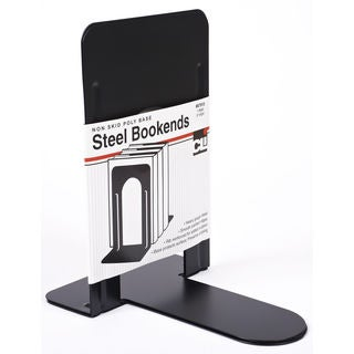 "Charles Leonard Inc. 87915 9"" Black Steel Non Skid Bookends"
