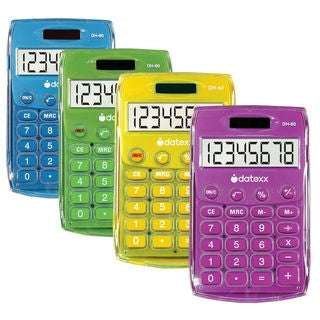 Datexx DH-60-C Ice Color Dual Power Handheld Calculator