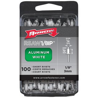"Arrow Fastener RSAW1/8IP White 1/8"" Short Aluminum Rivets 100-ct"