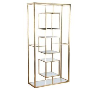 Gold Metal/Clear Glass 37.5-inch x 15-inch x 74.5-inch Shelf