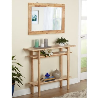 Simple Living Tokyo Unfinished Beech/Rubberwood Console Table and Mirror