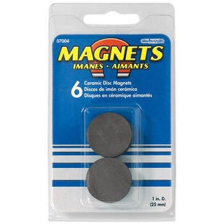 "Master Magnetics 07004 1"" Ceramic Disc Magnets 6 Count"